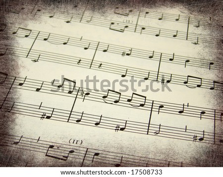 Music score background with grunge borders
