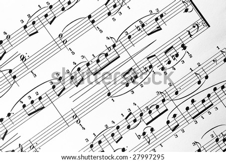 music sheet closeup - stock photo