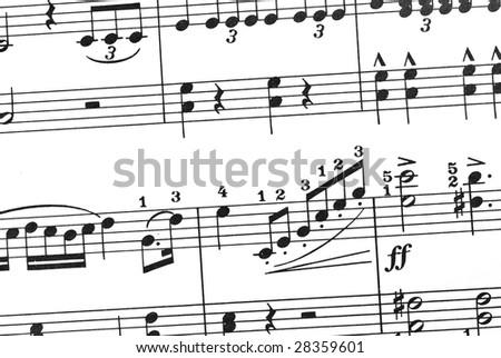 music sheet closeup - stock photo