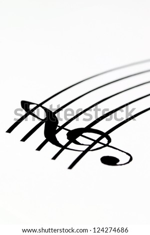 Music sheet with treble clef - stock photo