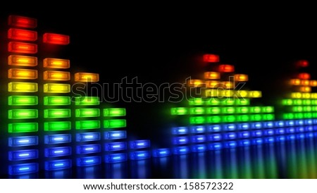 Music Sound Levels with Multi-Colors Block in Array Like Wall - stock photo