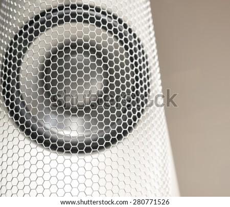 Music Sound Speaker with White Hexagonal Grill - stock photo