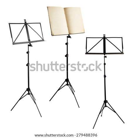 music stands with notes and blank isolated on white background (clipping paths included) - stock photo