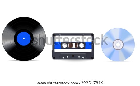 Music storage device - vinyl record, compact tape cassette and compact disc . Isolated on white background. Raster version - stock photo