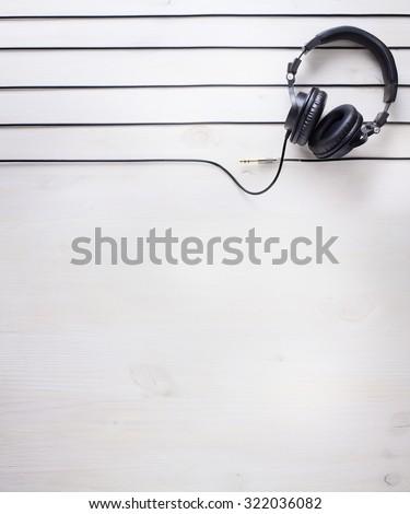 music studio background with dj  headphones  - stock photo