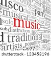 Music styles concept in word tag cloud on white - stock vector