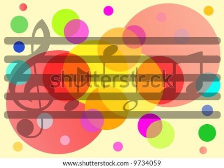 music tune on colorful pattern background - stock photo