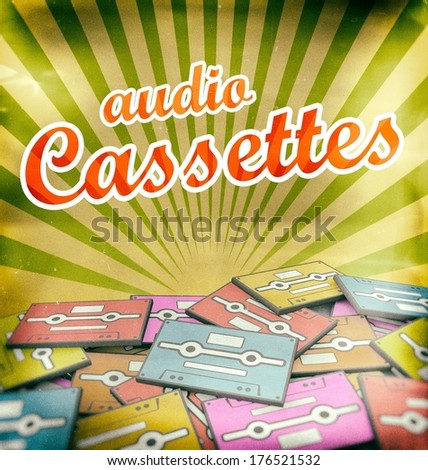 Music vintage poster design. Retro concept on old audio cassettes - stock photo