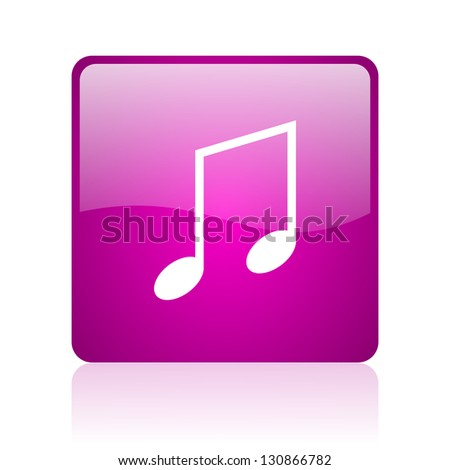 music violet square web glossy icon