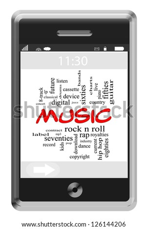 Music Word Cloud Concept of Touchscreen Phone with great terms such as rock n roll, rap, pop, download and more. - stock photo