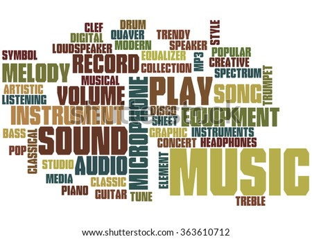 Music, word cloud concept on white background.   - stock photo