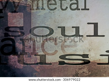 music word soul on film strip background - stock photo