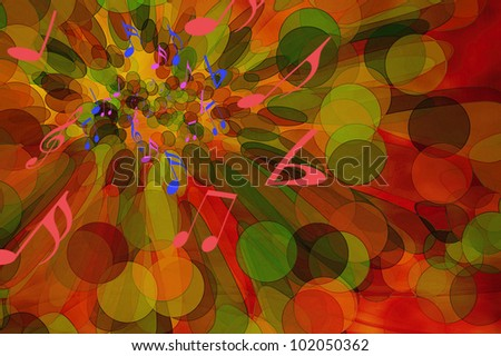 Musical abstract design with background of circles, bubbles or balloons - stock photo