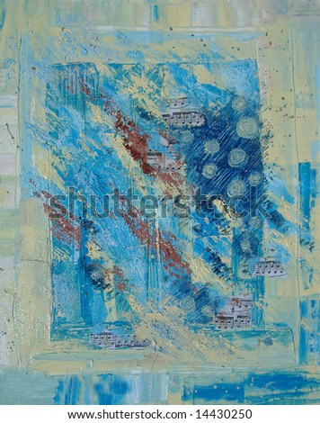 Musical abstract oil painting in turquoise and lemon yellow colors - stock photo