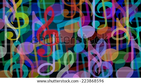 Musical background and music arts symbol as a group of melody notes combined together in an audio harmony concept. - stock photo