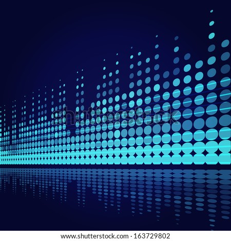 musical background with blue lines on dark blue - stock photo