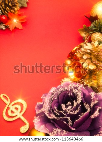 Musical christmas decoration on red background