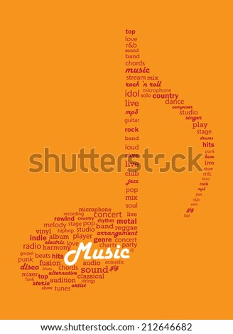 Musical concepts word collage in a shape of musical note