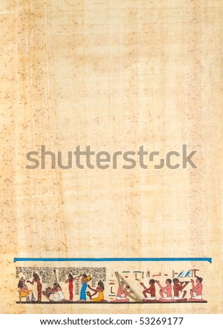 musical drawing on Egyptian papyrus paper - stock photo
