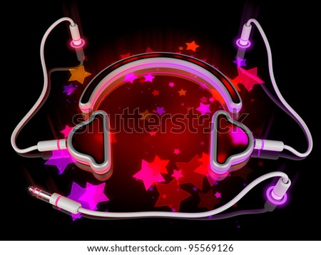 Musical headphones with stars on colorful display