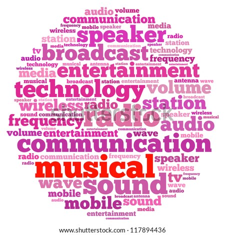 Musical info-text graphics and arrangement concept on white background (word cloud)
