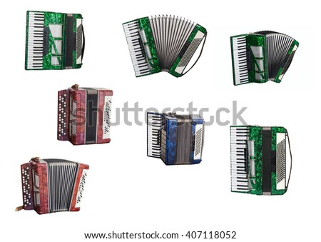 musical instruments accordion and Bayan isolated on white background - stock photo