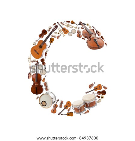 Musical instruments alphabet on white background. Letter C - stock photo