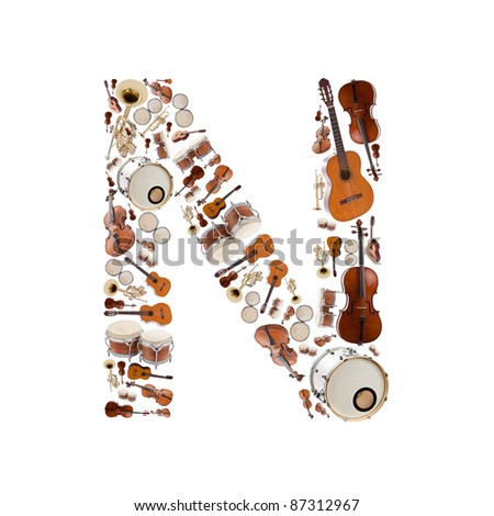 Musical instruments alphabet on white background. Letter N - stock photo