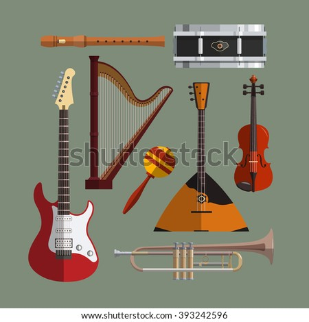 Musical instruments collection. Music icon set. Flat design illustration with musical objects, guitar, violin, balalaika, drum, harp, pipe, trumpet. - stock photo