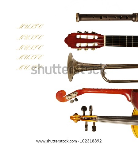 Musical instruments collection on white background. Your text - stock photo