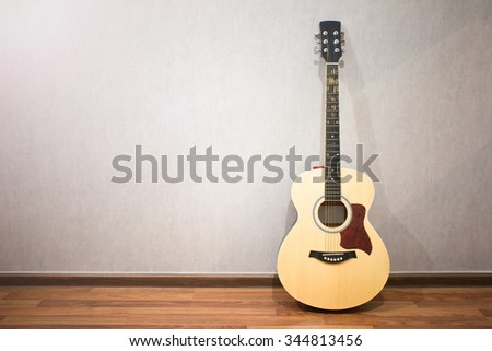 Musical instruments guitar in the room