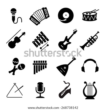 Musical instruments icon set - stock photo