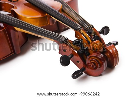 Musical instruments isolated on white - stock photo