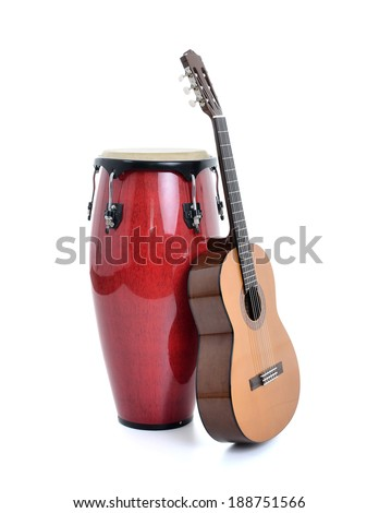 Musical instruments isolated on white background - stock photo
