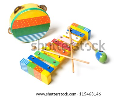 Musical instruments on white background - stock photo