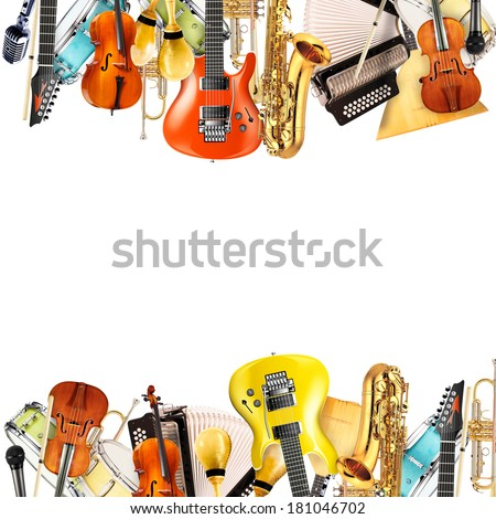 Musical instruments, orchestra or a collage of music - stock photo