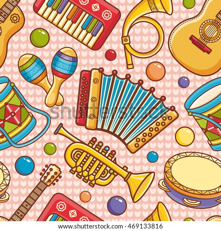 Musical instruments. Seamless pattern.  Baby toy - guitar, tambourine, maracas, drum, piano, trumpet, post horn, accordion. Cartoon style. Raster