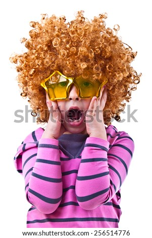 Musical kid with rock image sing with wig and star shaped glasses - stock photo
