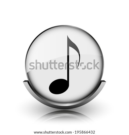 Musical note icon. Shiny glossy internet button on white background.  - stock photo