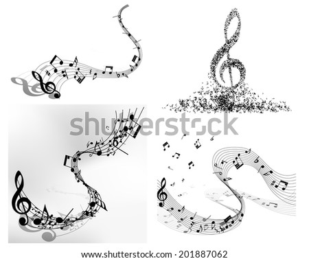 Musical note staff - stock photo