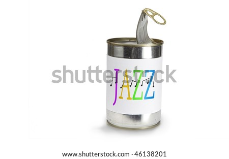 Musical Note Symbol a cross jazz on a can on a white background - stock photo