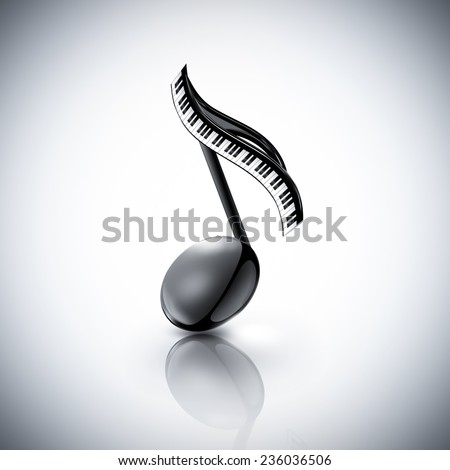musical note with piano keys on a light background - stock photo