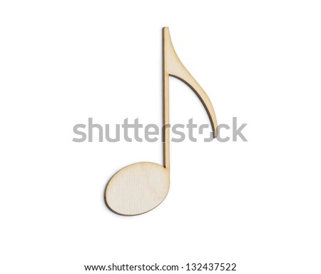 Musical note  Wooden sign - isolated on white background