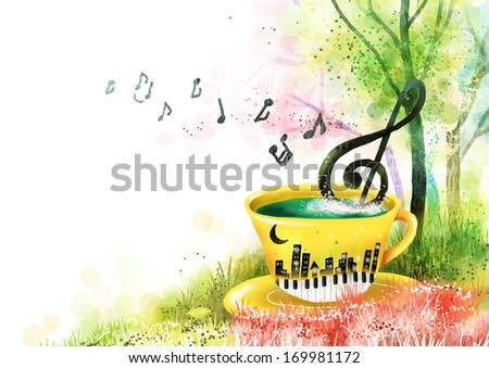 Musical notes and a coffee cup. - stock photo
