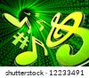 Musical notes in abstract digital tunnel - stock photo
