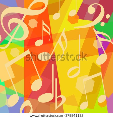 Musical notes on abstract art background
