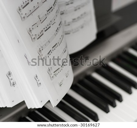 Musical notes on composer - stock photo