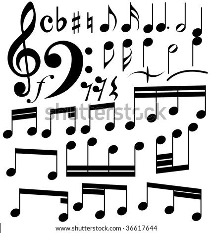 Musical notes set. In my portfolio also available vector version of this picture. - stock photo