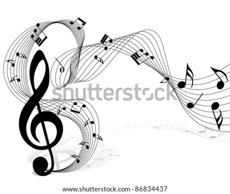 Musical notes staff background for design use - stock photo