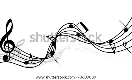 Musical notes staff background for design use (fictional music composition) - stock photo